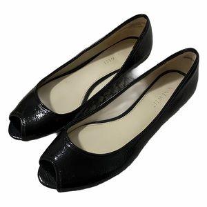 Nine West Black Patent Peep Toe Flats